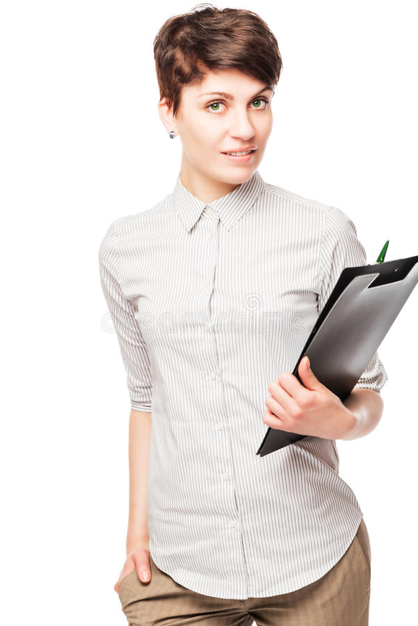 Beautiful successful woman office worker with a folder royalty free stock image