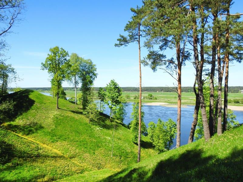 Beautiful Sudargo mound near river Nemunas, Lithuania stock image