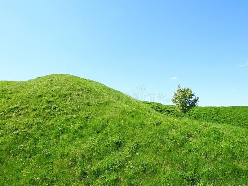 Beautiful Sudargo mound near river Nemunas, Lithuania royalty free stock photography