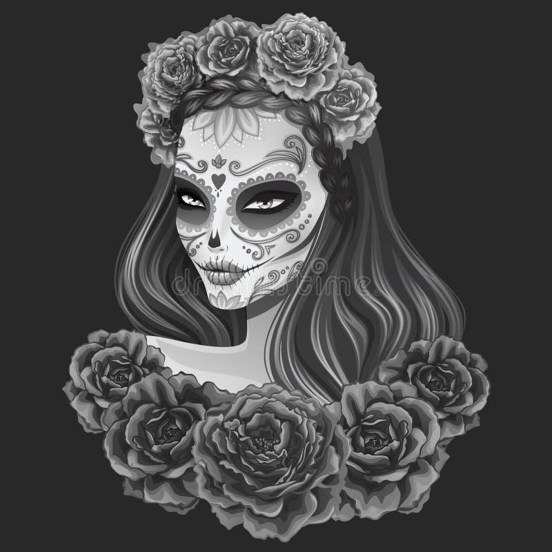Beautiful sugar skull woman illustration Day of dead vector illustration
