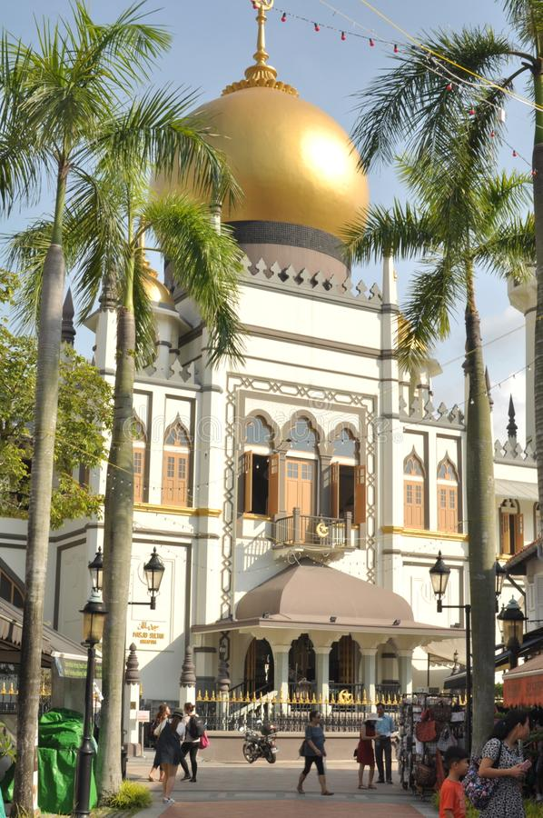 The beautiful Sultan Mosque in Singapore. Sultan Mosque is located at Muscat Street and North Bridge Road within the Kampong Glam district of Rochor Planning royalty free stock photography