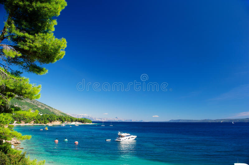 Beautiful Summer Adriatic Sea coastline view with pine tree and yacht, island Brac, Croatia stock images
