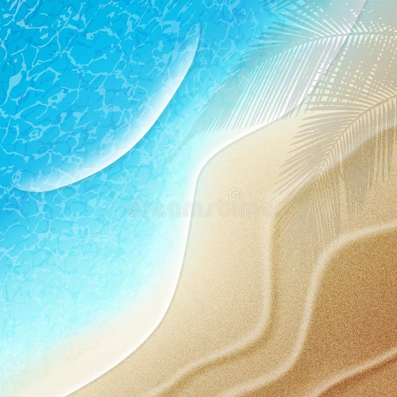 Beautiful summer beach background. Top view. Vector royalty free illustration