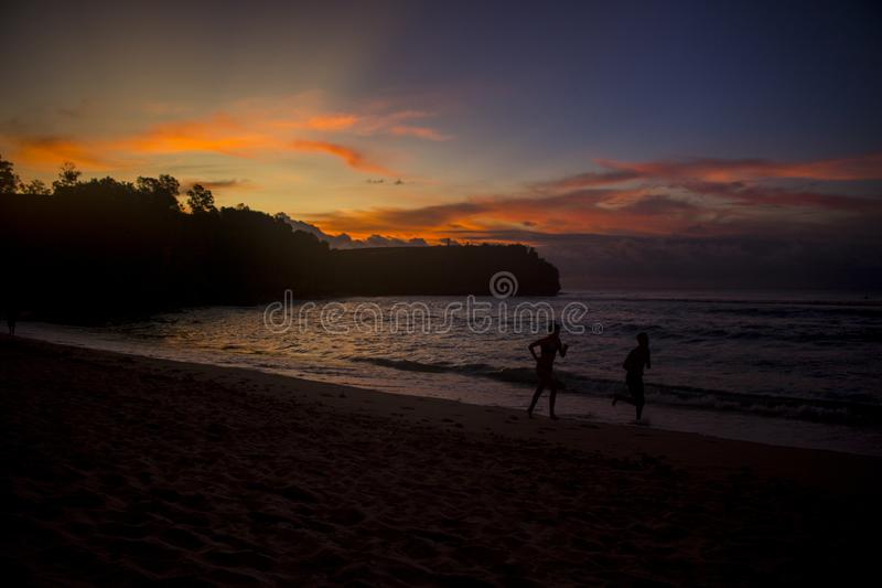 Beautiful summer beach sunset view stock image