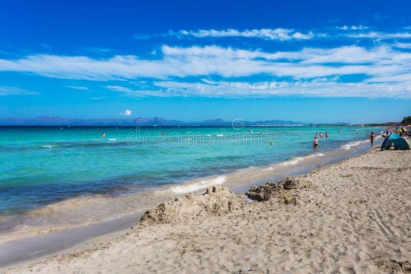 Beautiful summer beach with turquoise water in Alcudia royalty free stock images