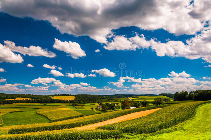 Beautiful summer clouds over rolling hills and farm fields in ru royalty free stock photos