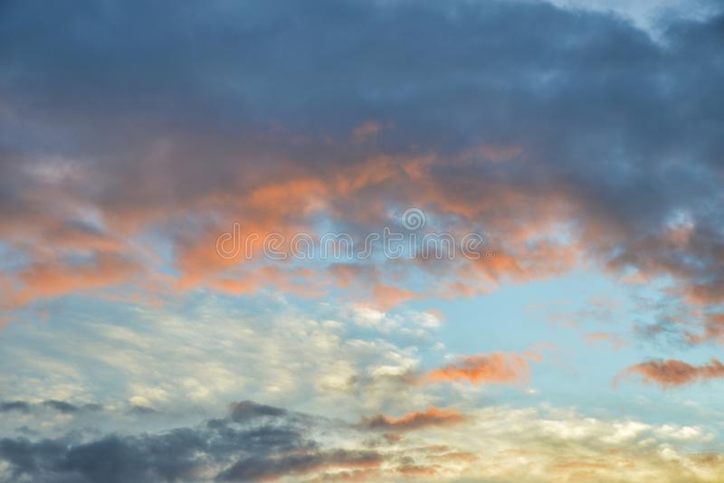 Beautiful summer cloudscape with vibrant colors. Filling the sky stock photography