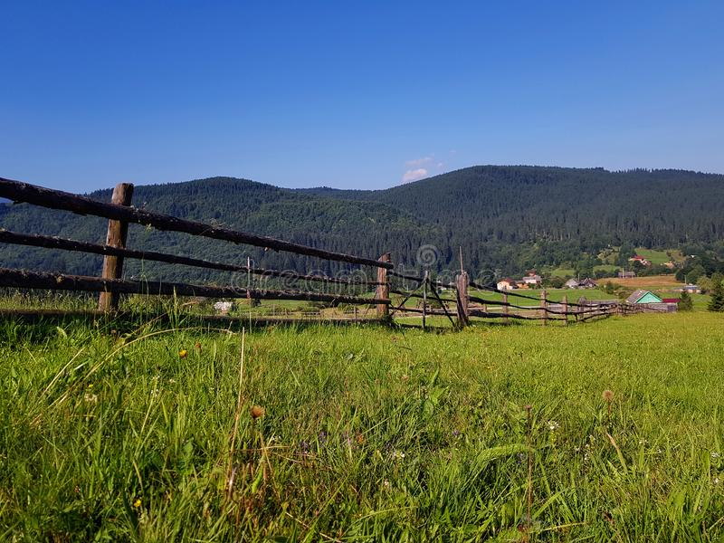 Beautiful summer countryside landscape with forested hills, grassy rural field in mountains. Sunny day, clear blue sky. Carpathian royalty free stock images