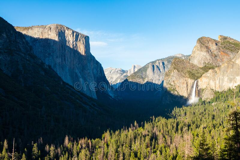 Beautiful summer day in the Yosemite Valley located in California in the United States. Breathtaking landscape of the gorgeous US.  royalty free stock image
