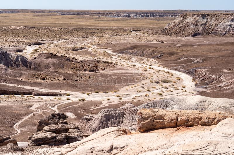 Beautiful summer desert landscape view of the mesas of Petrified Forest National Park in Arizona. Four Corners region royalty free stock photography