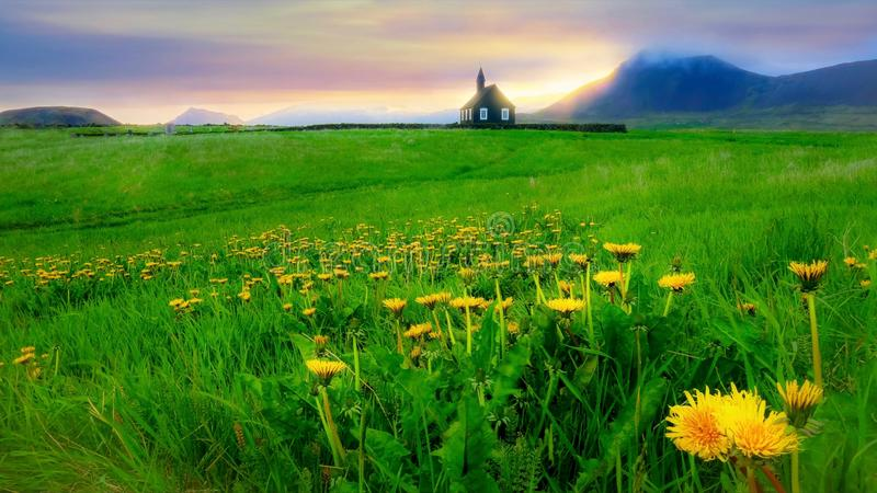 A beautiful summer evening landscape in Iceland. stock image