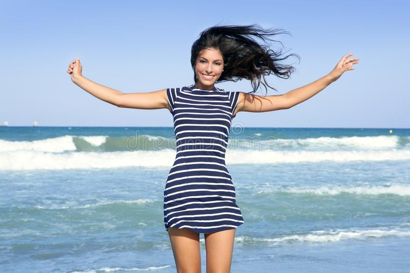 Download Beautiful Summer Girl Jumping On The Beach Stock Image - Image: 10985167