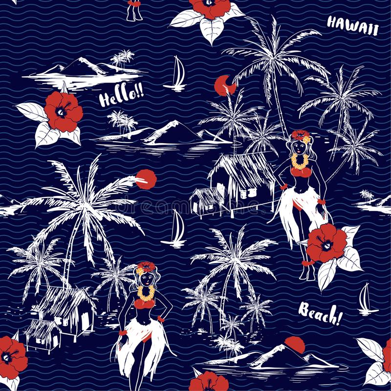 Beautiful summer Hawaiian girl island. seamless pattern on wave vector illustration