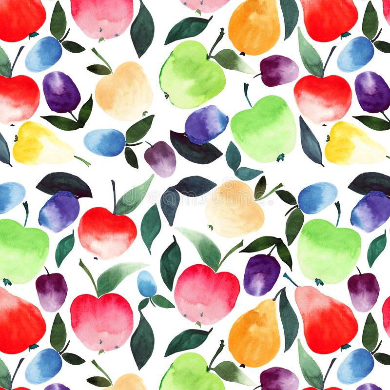 Beautiful summer juicy tasty pears apples plums orange green red violet and yellow colors with green leaves pattern watercolor vector illustration
