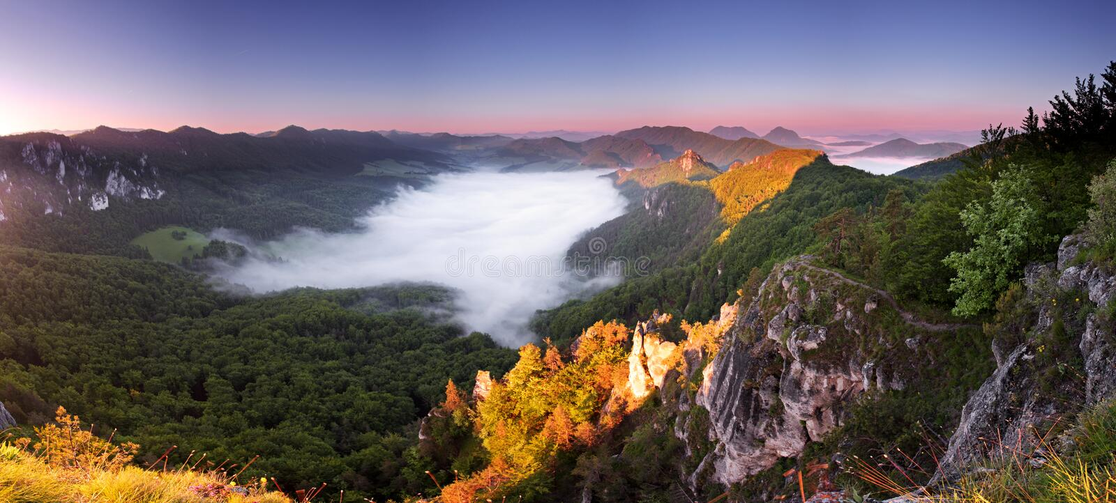 Beautiful summer landscape with inversion. And cliff royalty free stock photos