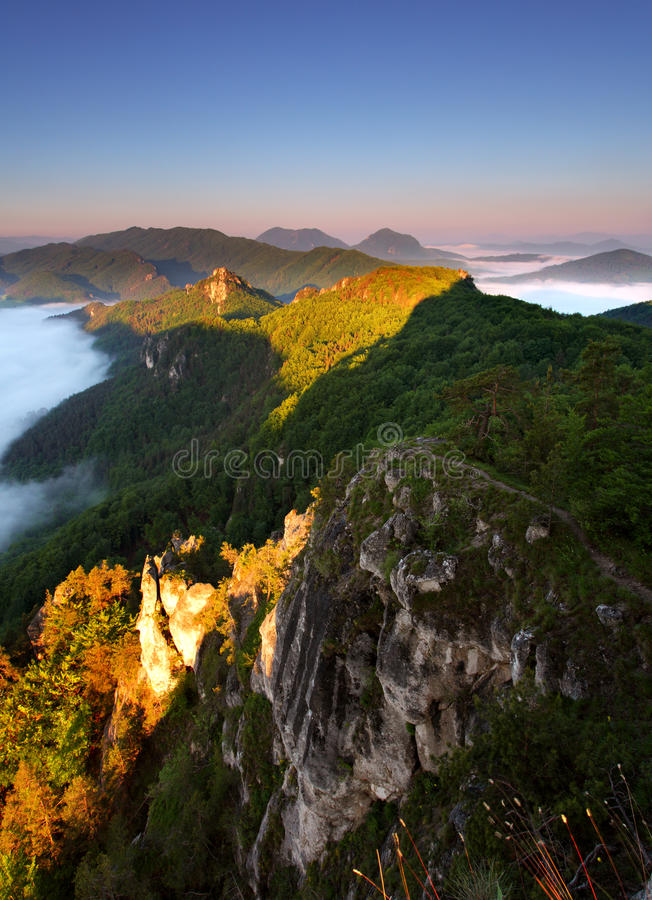 Beautiful summer landscape with inversion. And cliff stock images