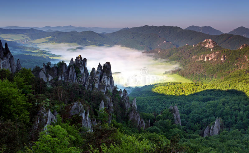 Beautiful summer landscape with inversion. And cliff stock image