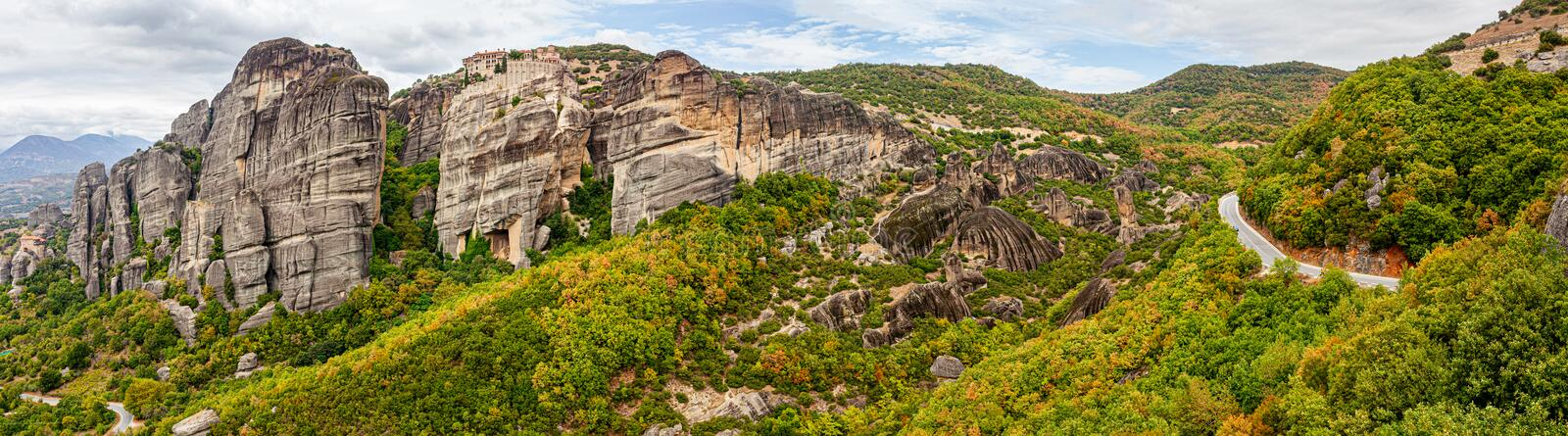 Beautiful summer landscape of Meteora, Greece royalty free stock images