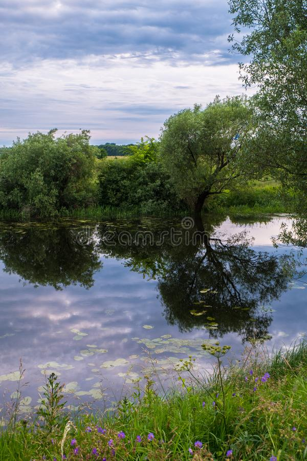 Beautiful summer landscape.Nerl river,illuminated by the setting evening sun. Evening serenity royalty free stock photography