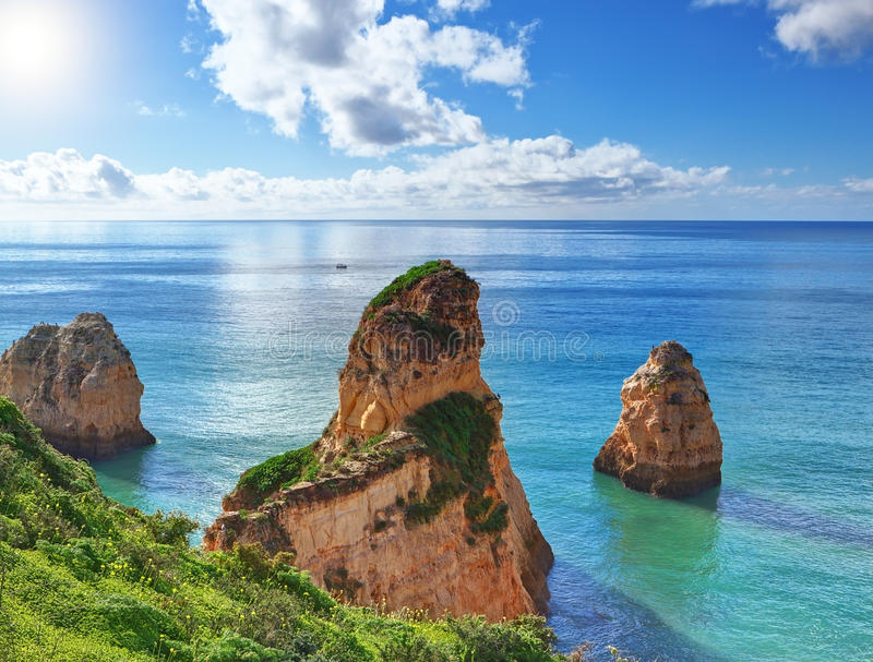 Beautiful summer landscape with the sea. royalty free stock photo
