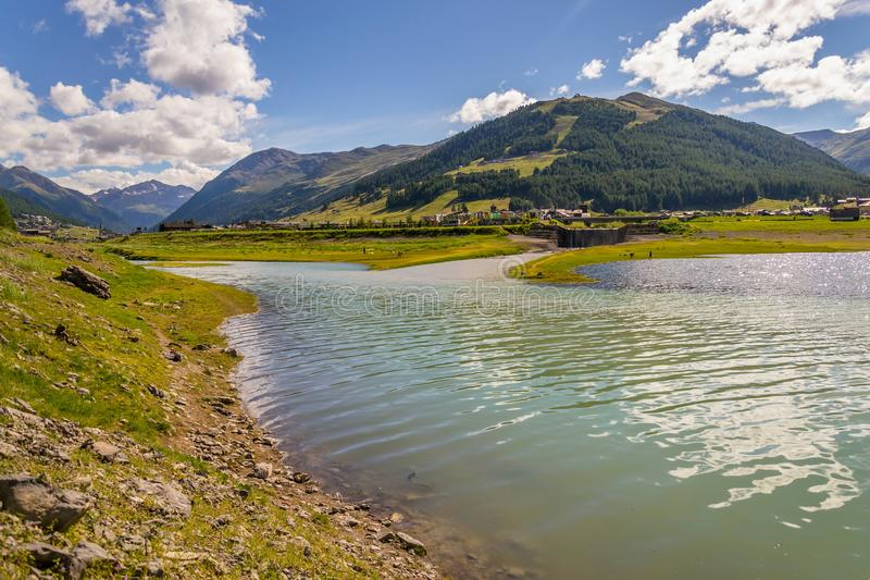 Beautiful summer landscape with Vetta Blesaccia mountain peak and Lake Livigno, Italy. Sunny day royalty free stock images