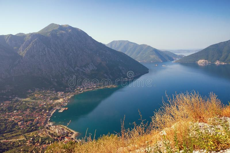 Beautiful summer Mediterranean landscape. Montenegro, view of Kotor Bay and Risan town from a mountain slope. Beautiful summer Mediterranean landscape royalty free stock image