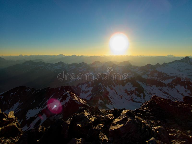Mountaineering to the top of weisseespitze from kaunertal royalty free stock images