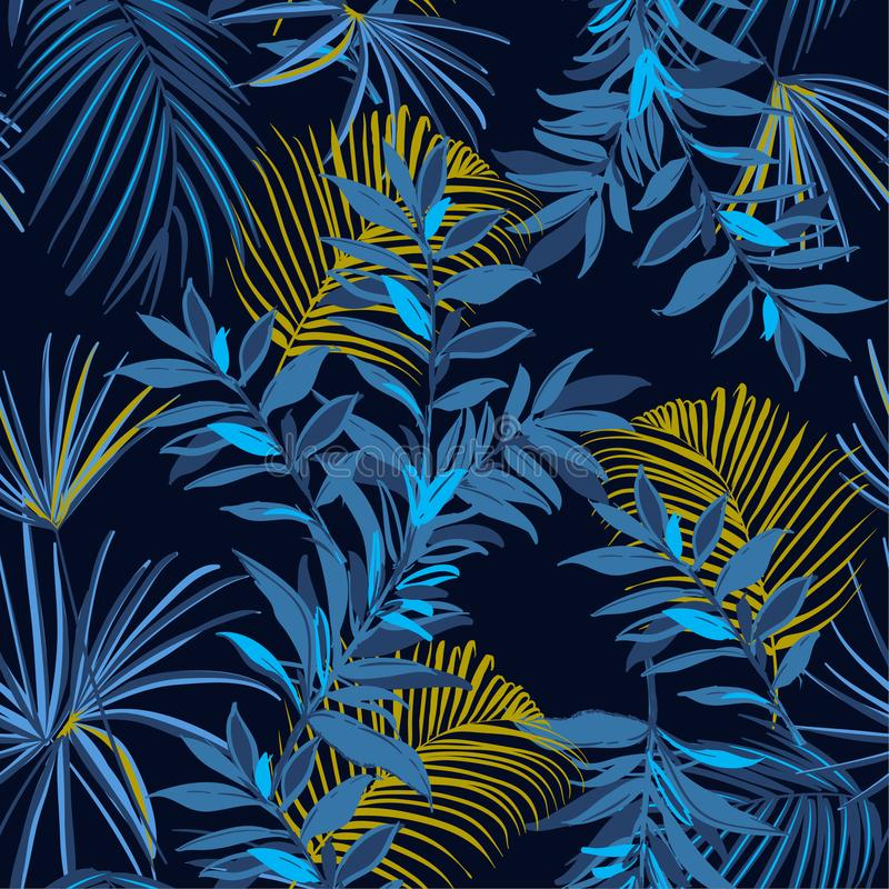 Beautiful Summer night Seamless monotone blue and yellow tropical pattern. Leaves palm tree illustration. Modern graphics. Exotic vector illustration