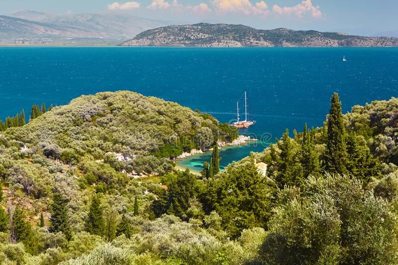 Beautiful summer panoramic seascape. Coastline of Corfu. stock photography