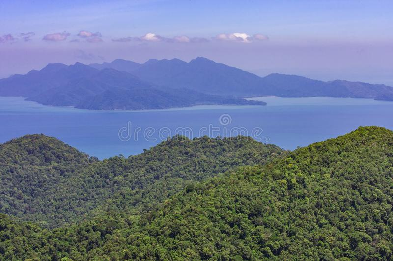 Beautiful summer panoramic seascape. View of the coastline island into the sea in Asia region. stock photo