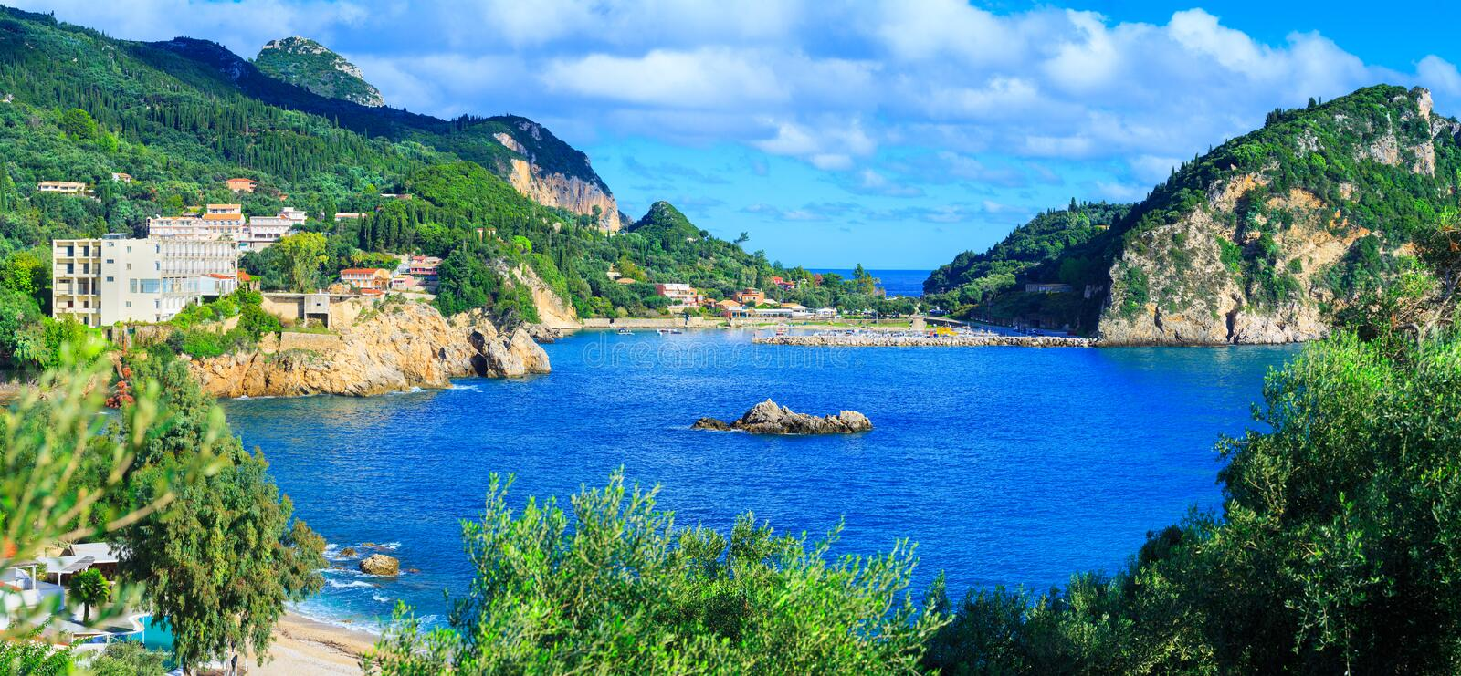 Beautiful summer panoramic seascape. View of the coastline into royalty free stock photos