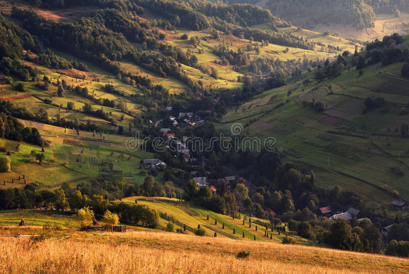 A beautiful summer rural landscape with houses, sunny hills and many small hay stacks. Carpathian rolling landscape on sunset in stock photo