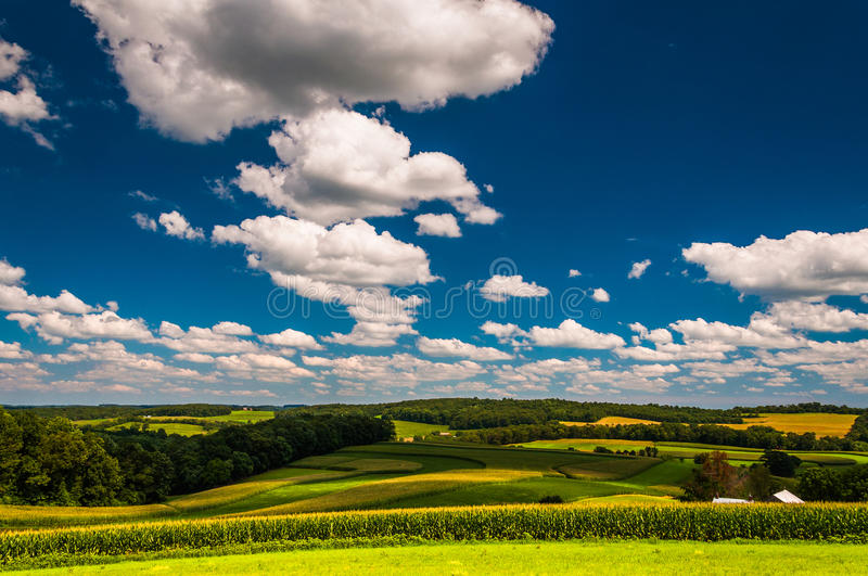 Beautiful summer sky over farm fields in Southern York County, P. Ennsylvania royalty free stock images