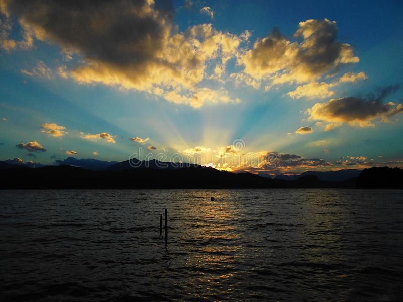 Beautiful summer sunset at the Nahuel Huapi lake, in Argentina. stock photo