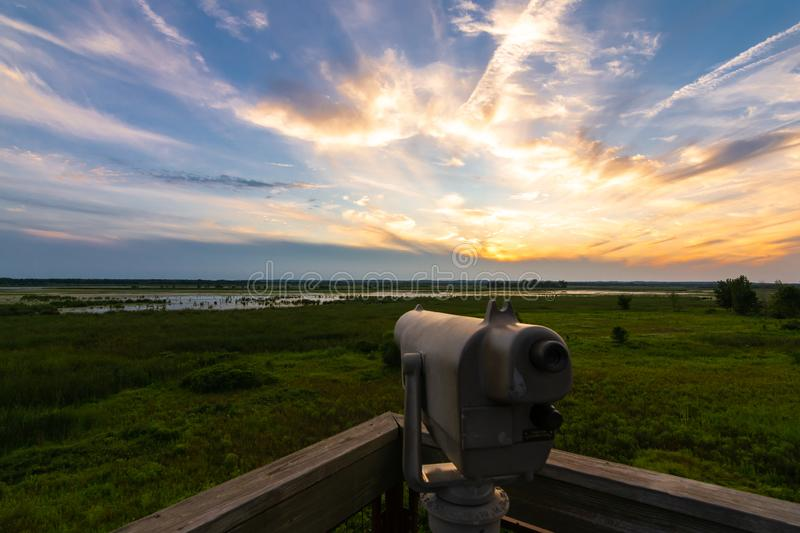 View finder at sunset. Beautiful Summer sunset on the observation tower in Dixon Waterfowl Refuge.  Putnam County, Illinois, USA stock image