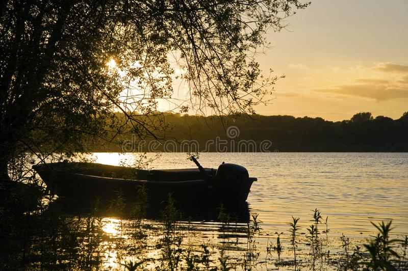 Beautiful Summer sunset over still lake stock images