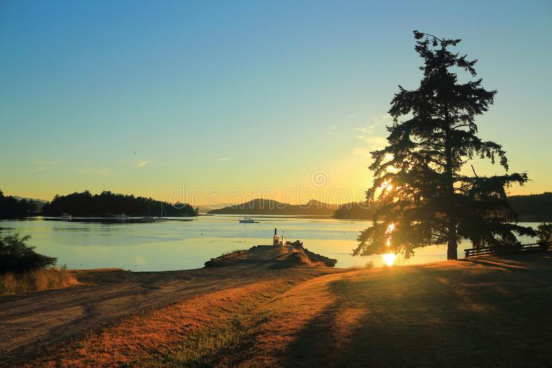 Sunset over Winter Cove, Gulf Islands National Park, Saturna Island, British Columbia, Canada. Beautiful summer sunset at Winter Cove on Saturna Island from the royalty free stock images