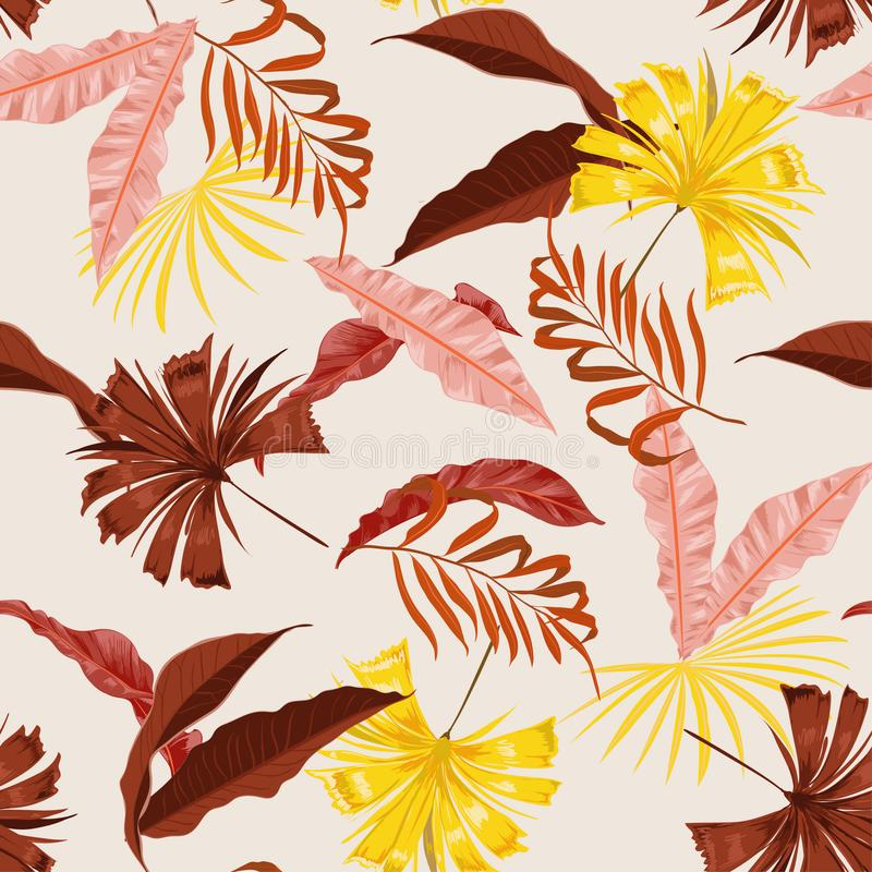 Beautiful summer vector seamless beautiful artistic bright tropical pattern with exotic forest. Colorful original stylish floral stock illustration