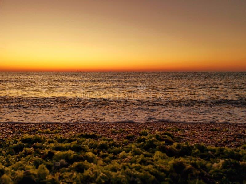 Beautiful sunrise at Vama Veche beach from Constanta, Romania royalty free stock photography