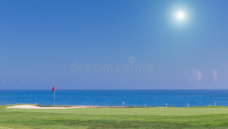 Beautiful summer view of a golf course. stock photography