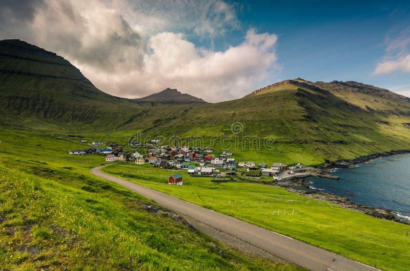 Beautiful summer view on village of Funningur, Eysturoy island, Faroe Islands stock photo