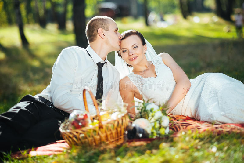 Beautiful summer Wedding walk on nature royalty free stock photos