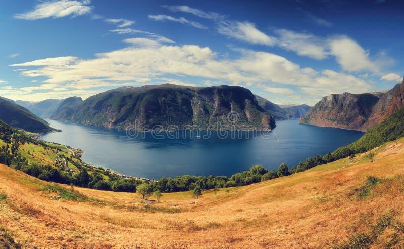 Beautiful summertime sunny panorama of Aurlandsfjord, Norway stock image