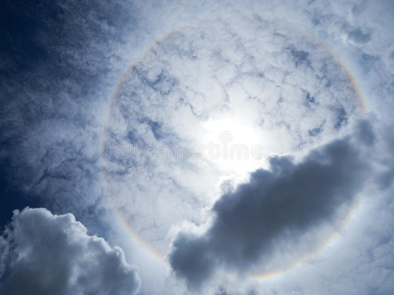 Beautiful sun halo phenomenon. Fantastic Beautiful sun halo phenomenon royalty free stock image