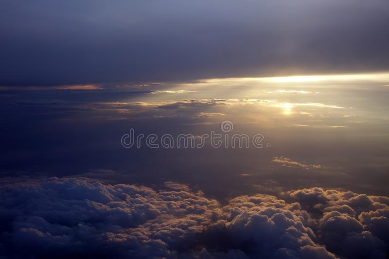 Sun rays with clouds. Beautiful sun rays with clouds royalty free stock photo
