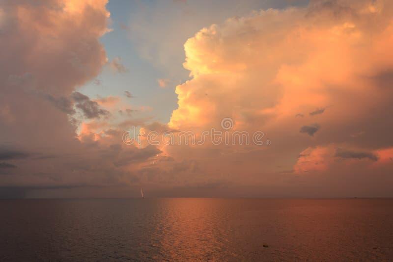 Beautiful sun rise and dramatic sky with lighting stock photo