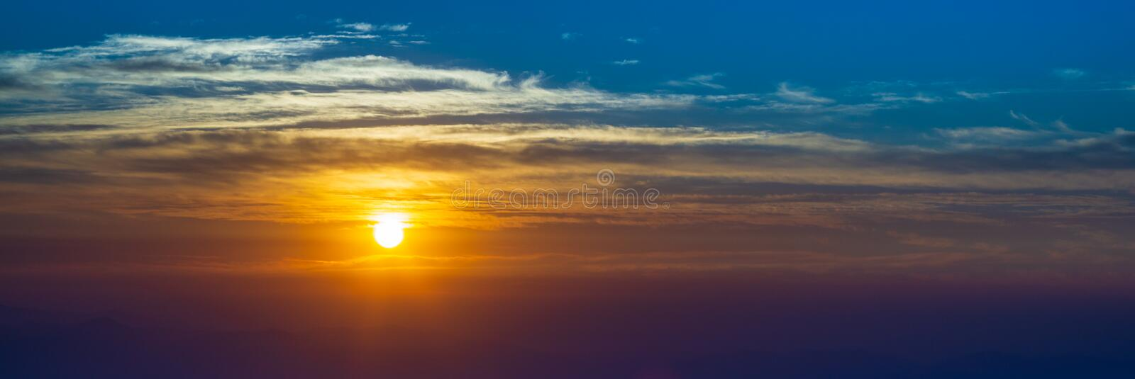 Beautiful sun rise and sun set panorama background. Beautiful abstract nature background for website banners royalty free stock photography