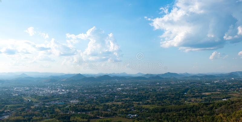 Beautiful sun sky cloud at the mountain range and the city in the background. Photo Loei  city Thailand from Phu Bo Bit mountain peak stock images