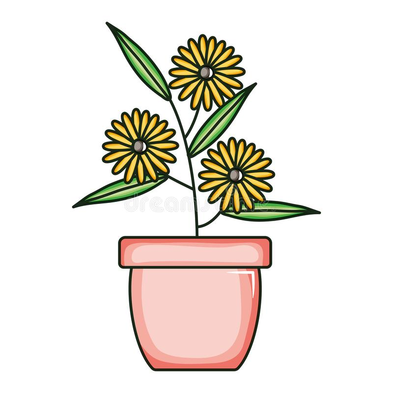 Beautiful sunflowers garden in ceramic pot. Vector illustration design stock illustration
