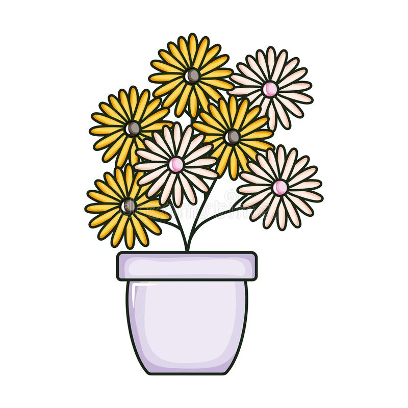 Beautiful sunflowers garden in ceramic pot. Vector illustration design royalty free illustration